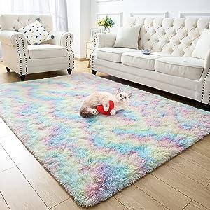 Zareas Soft Rainbow Area Rugs for Girl Room Bedroom, Cute Fluffy Rug Colorful Shag Furry Fuzzy Carpet for Kids Toddler Baby Room Living Room Indoor Dorm Nursery Floor Home Decor Play Mat, 3x5 Feet