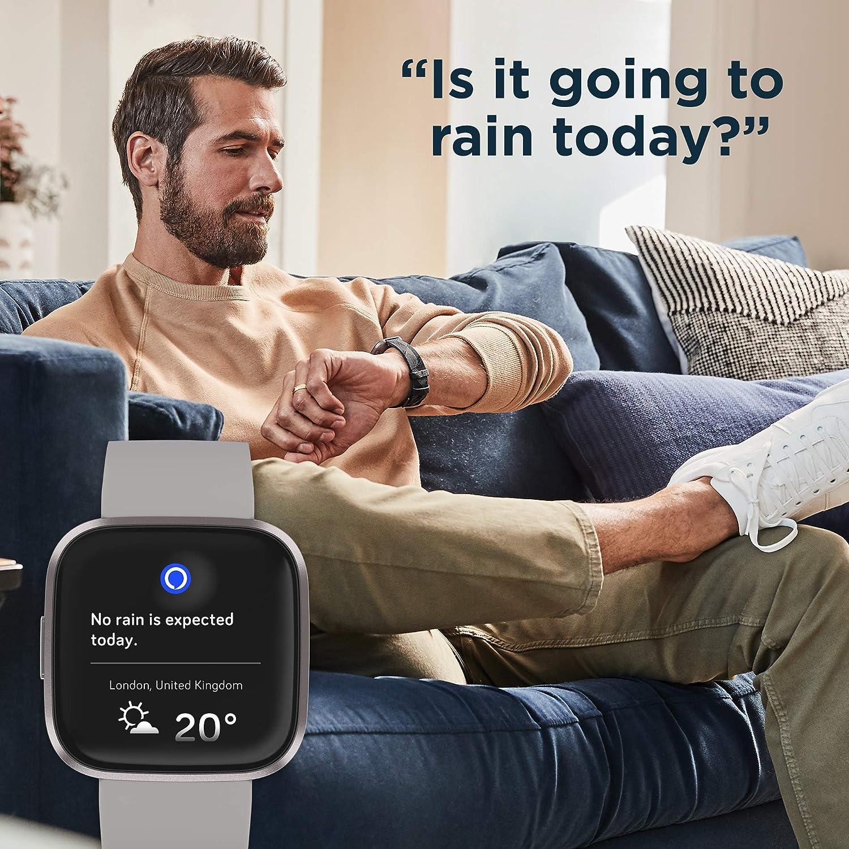 Fitbit Versa 2 Health /& Fitness Smartwatch Black - Smart speaker with Alexa Carbon 3rd Gen Echo Dot Charcoal Fabric