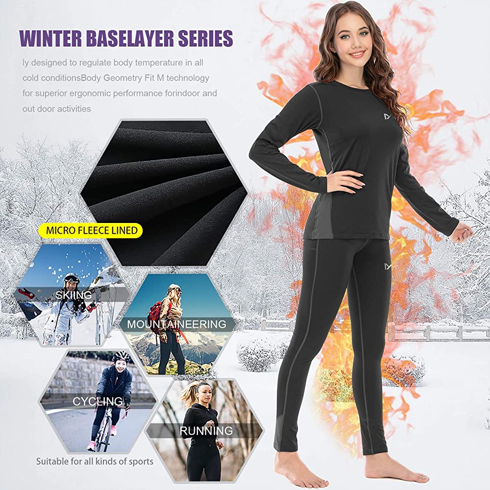 Long Sleeve Top /& Bottom Quick Dry Long Johns Suit with Fleece Lined for Running Skiing Workout MEETWEE Women/'s Thermal Underwear Set Winter Base Layer for Ladies