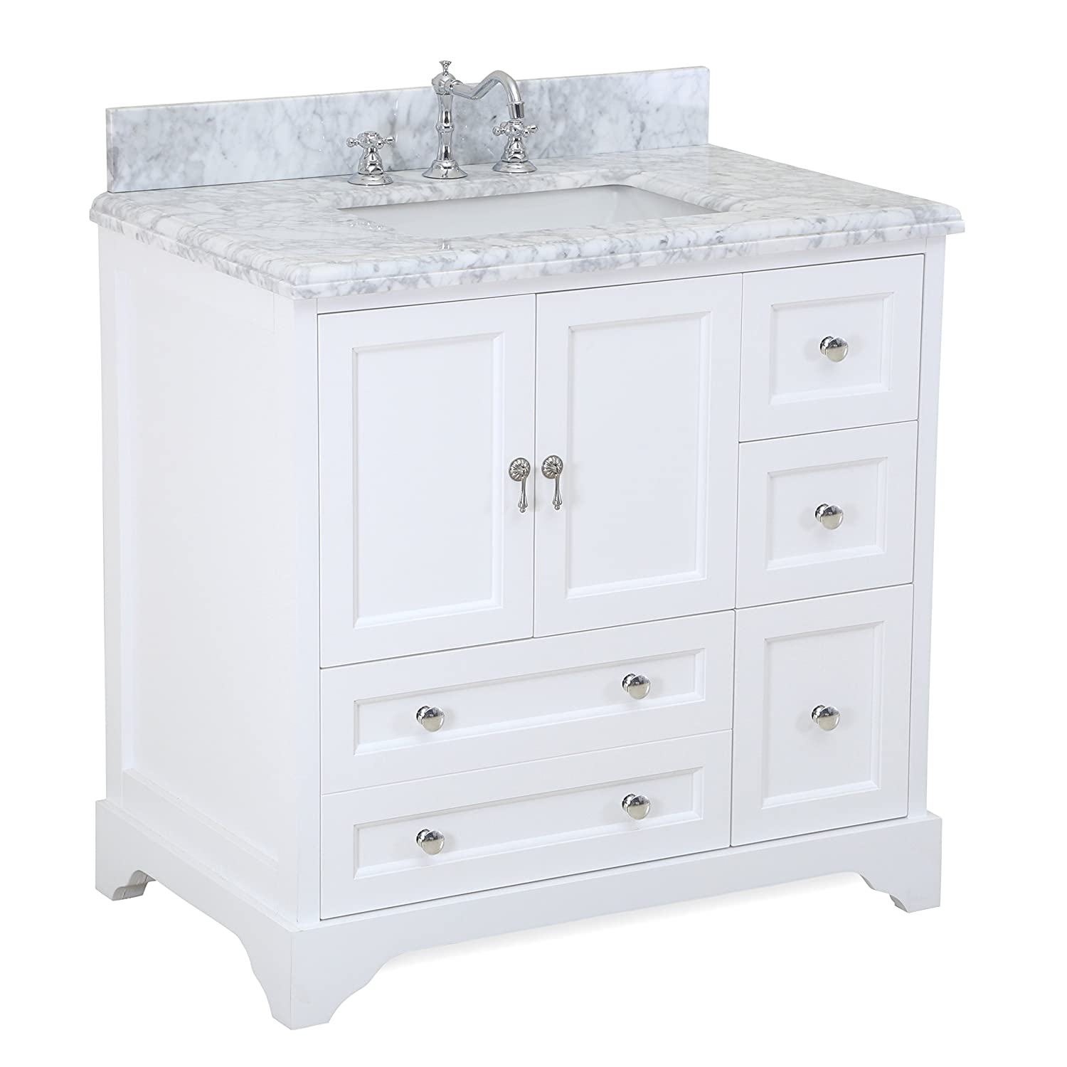 Madison 36-inch Bathroom Vanity Carrara White Includes Italian Carrara Marble Top, White Cabinet with Soft Close Drawers Doors, and Rectangular Ceramic Sink