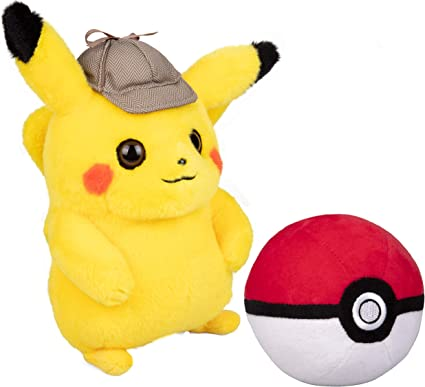 Amazon Com Wicked Cool Toys Pokemon Detective Pikachu 8 Inch Plush With Soft Pokeball 2 Pack Toys Games