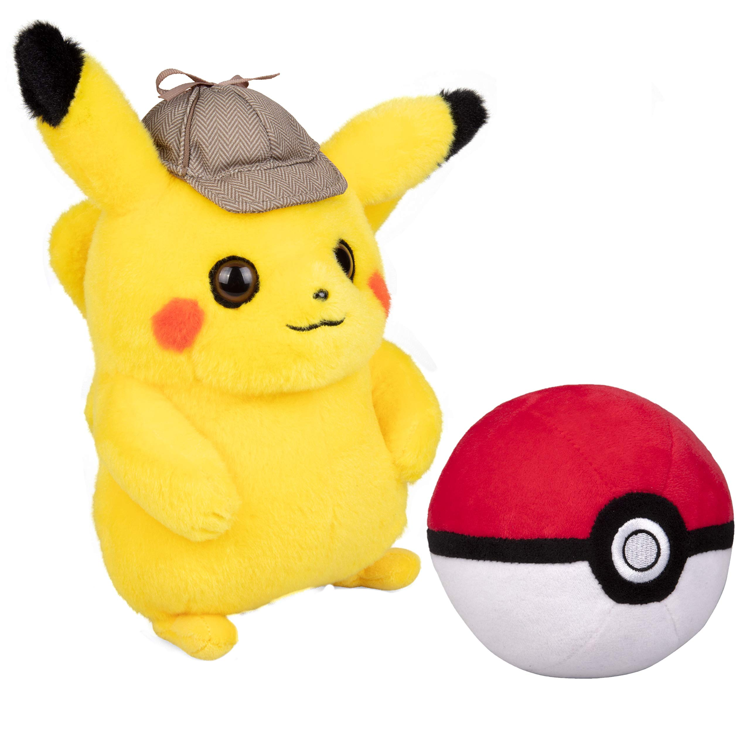 Wicked Cool Toys Pokemon Detective Pikachu 8 Inch Plush with Soft Pokeball - 2 Pack by Wicked Cool Toys