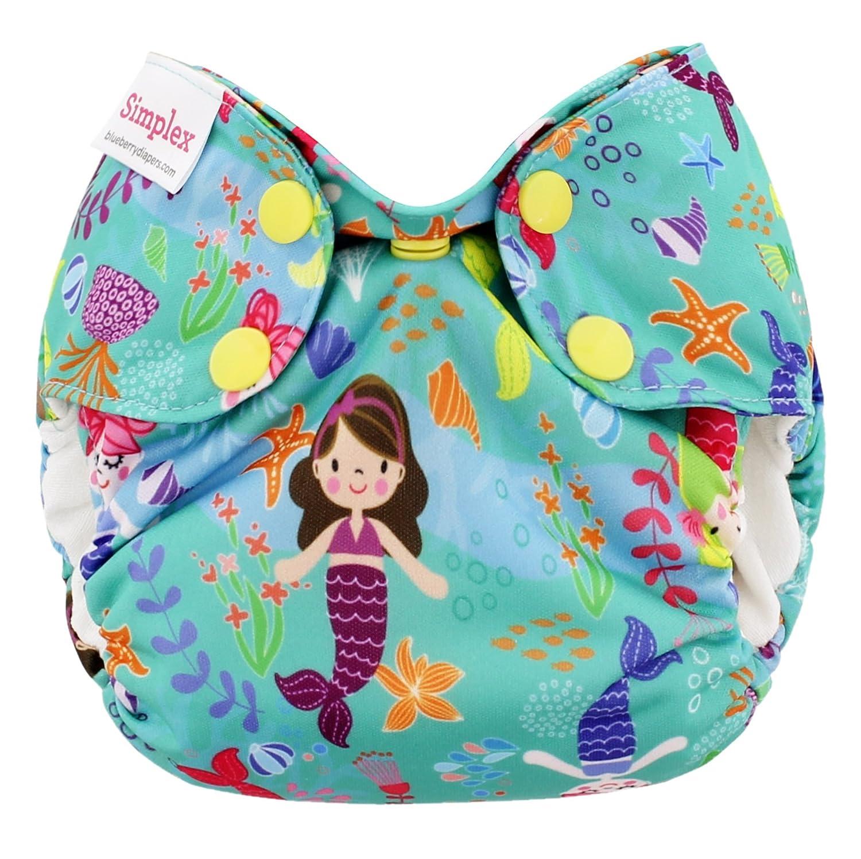 Made in USA Mermaids Blueberry Organic Newborn Simplex All in One Cloth Diapers