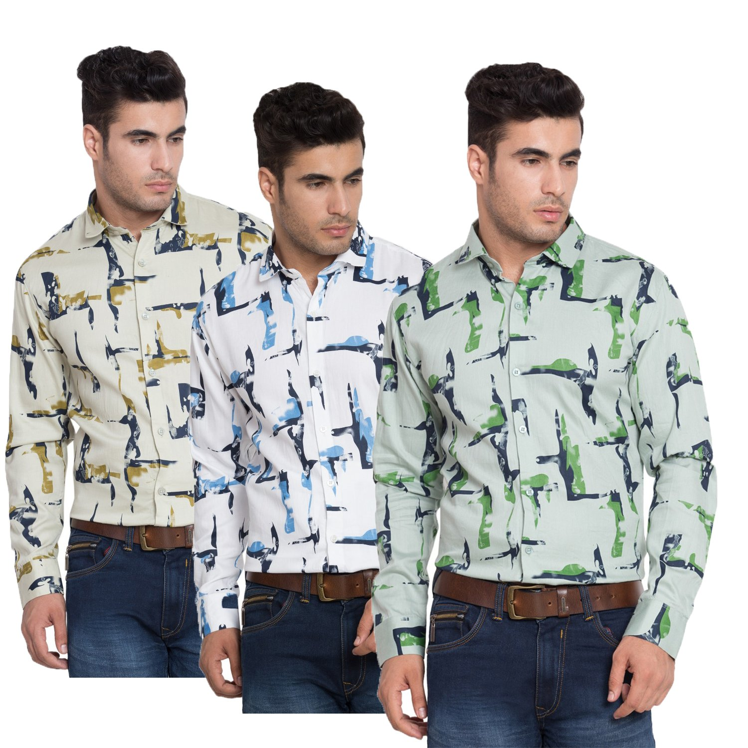 3546e2e5f68dc8 Gadgets Appliances Combo Satin Cotton Printed Men's Shirts-Fit Solid Pack  of 3: Amazon.in: Clothing & Accessories