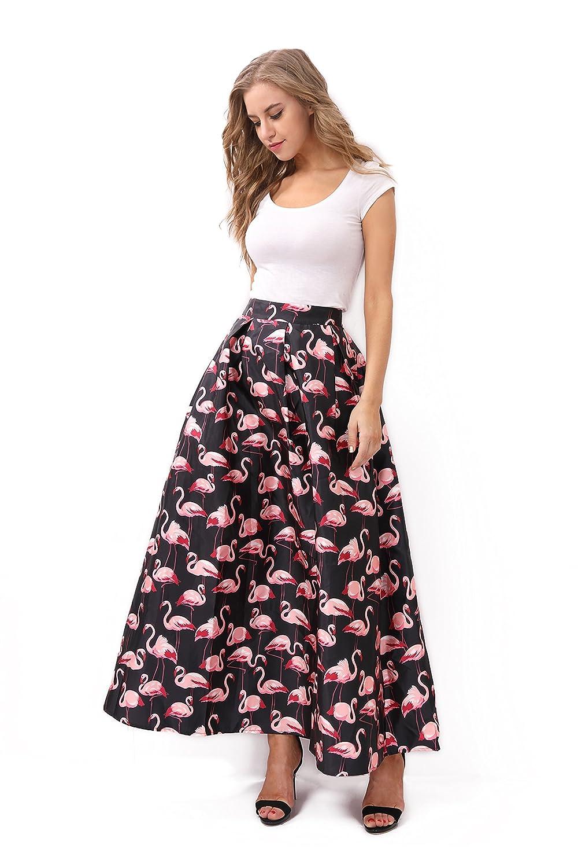 eadb3f207b3 JOAUR Women's Black & White Contrast Polka Dot Print Maxi Skirt at Amazon  Women's Clothing store: