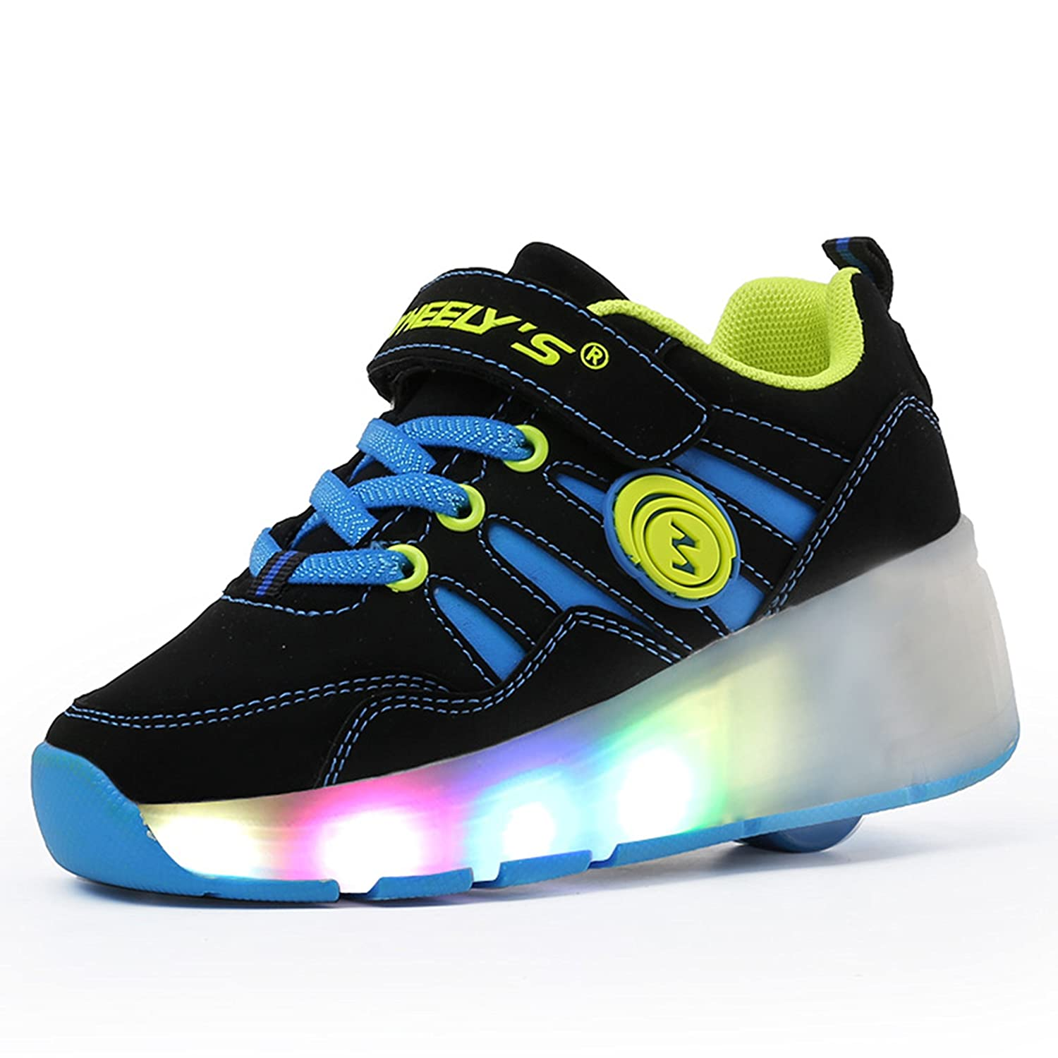 Pop out roller skate shoes - Meurry Unisex Kids Led Light Flashing Wheels Sneakers Auto Paragraph Roller Shoes Skates Sports Running