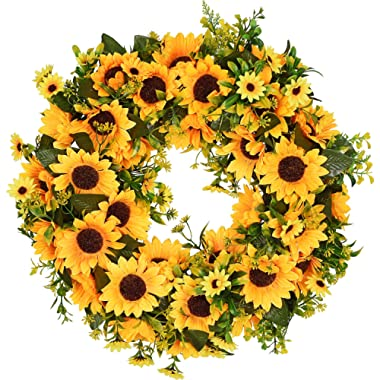 Lvydec Artificial Sunflower Summer Wreath - 16 Inch Decorative Fake Flower Wreath with Yellow Sunflower and Green Leaves for Front Door Indoor Wall Décor