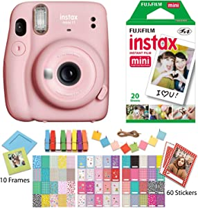 Fujifilm Instax Mini 11 Blush Pink Instant Camera with Twin Pack Instant Film, Ritz Gear Frame Stickers a nd Ritz Gear Hanging Frames