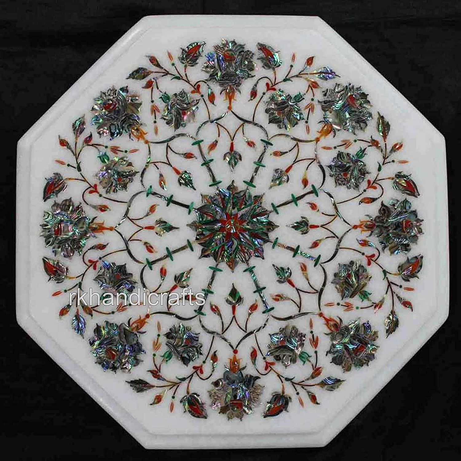 Octagon White Marble End Table Top Marquetry Art Malachite Stone can be Used in Hallway Furniture 12 Inches