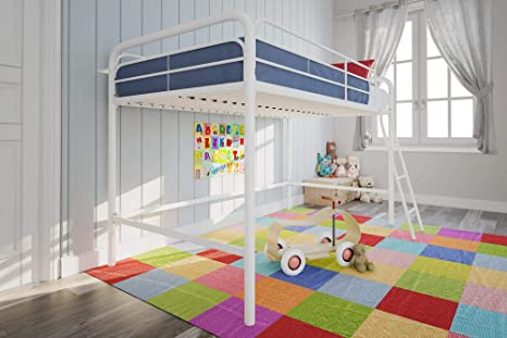Amazon Com Dhp Junior Loft Bed Frame With Ladder White Kitchen