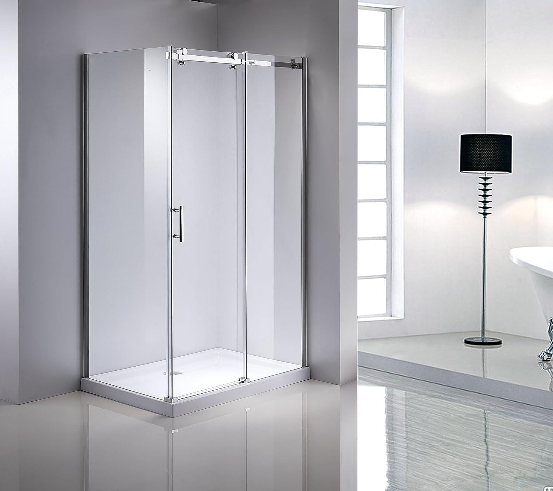 Mampara de ducha de esquina cabina de ducha Puerta corredera 90 x 120 8 mm ESG Nano: Amazon.es: Hogar