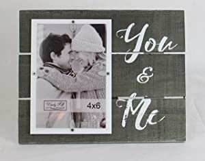 Windy Hill Collection 4 x 6 You & Me Wall or Table Top Picture Photograph Frame Made of Real Wood Slats 694000