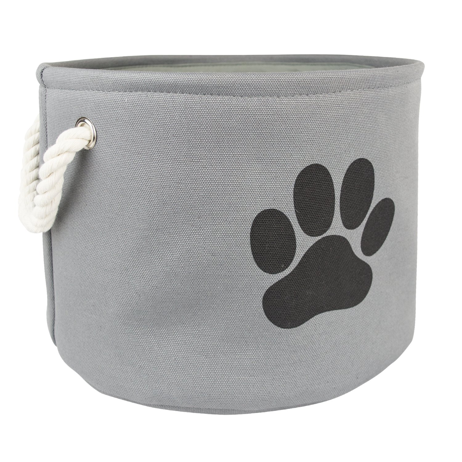 Bone Dry DII Medium Round Pet Toy and Accessory Storage Bin, 14.5''(Dia) x12(H), Collapsible Organizer Storage Basket for Home Décor, Pet Toy, Blankets, Leashes and Food-Gray with Black Paw by Bone Dry (Image #3)