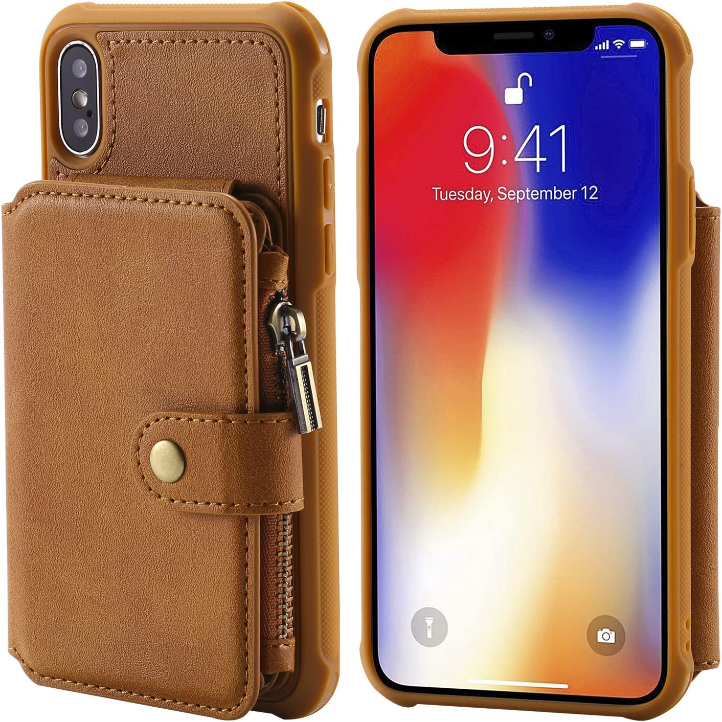 Flip Case Cover for iPhone Xs 5.8inch Brown Leather Waterproof Kickstand with Zipper Coin Pocket 8 Card Slots(ID Card,Credit Card) of 3 Photo Frame and Cash Slot Fashion Gift Girls Boys Unisex