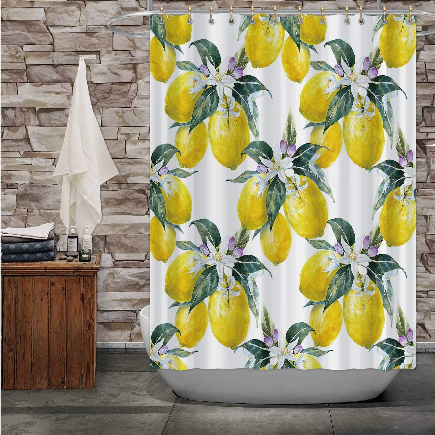 Pattern Blooming Lemon,Fabric Shower Curtain Lemon Fruit with Flowers for Bathroom Decor 72''Wx72''H