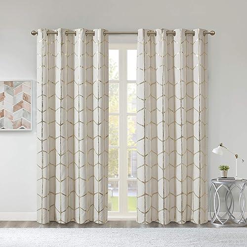 Intelligent Design Raina Total Blackout Metallic Print Grommet Top Window Curtain Panel Thermal Insulated Light Blocking Drape