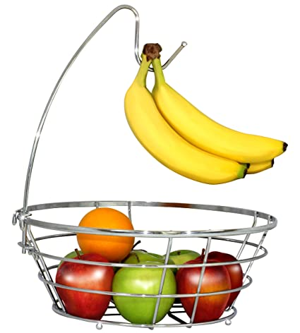 Five Photographs Of Banana In Seach Of >> Amazon Com Decobros Wire Fruit Tree Bowl With Banana Hanger Chrome