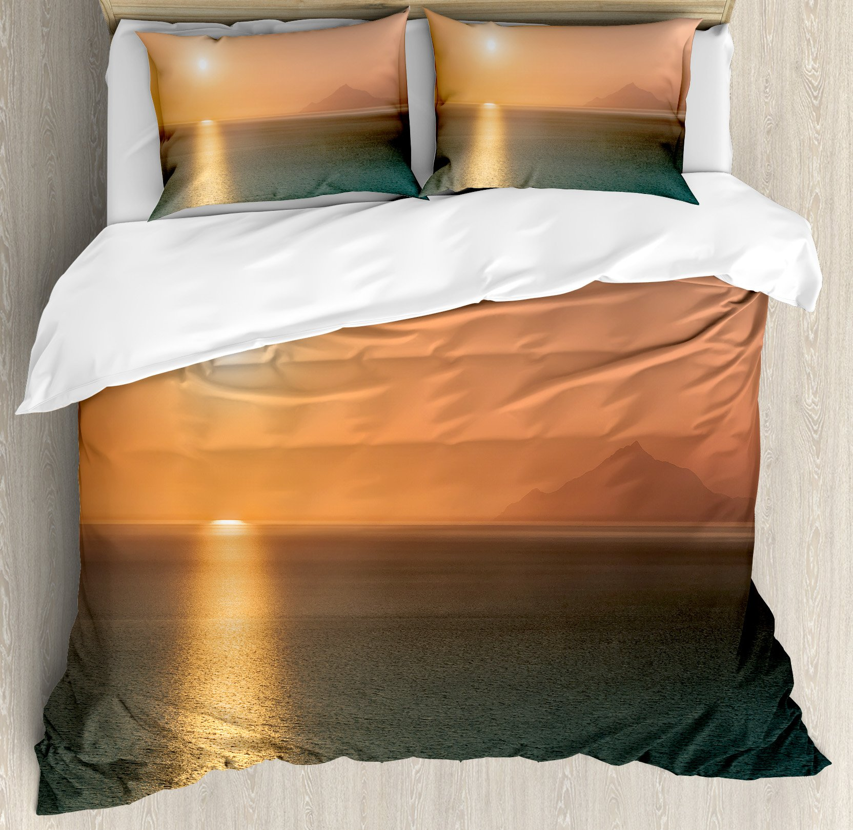 Burnt Orange Duvet Cover Set King Size by Ambesonne, Sunrise over Ocean Magical Burnt Horizon Reflection Seascape Coastal Theme, Decorative 3 Piece Bedding Set with 2 Pillow Shams, Orange Blue