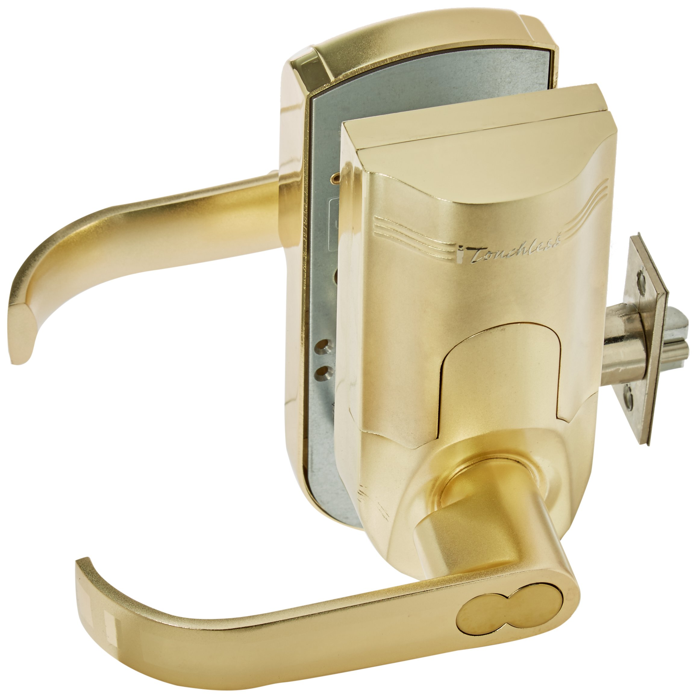 iTouchless Bio-Matic Fingerprint Door Lock, Left Handle, Gold by iTouchless
