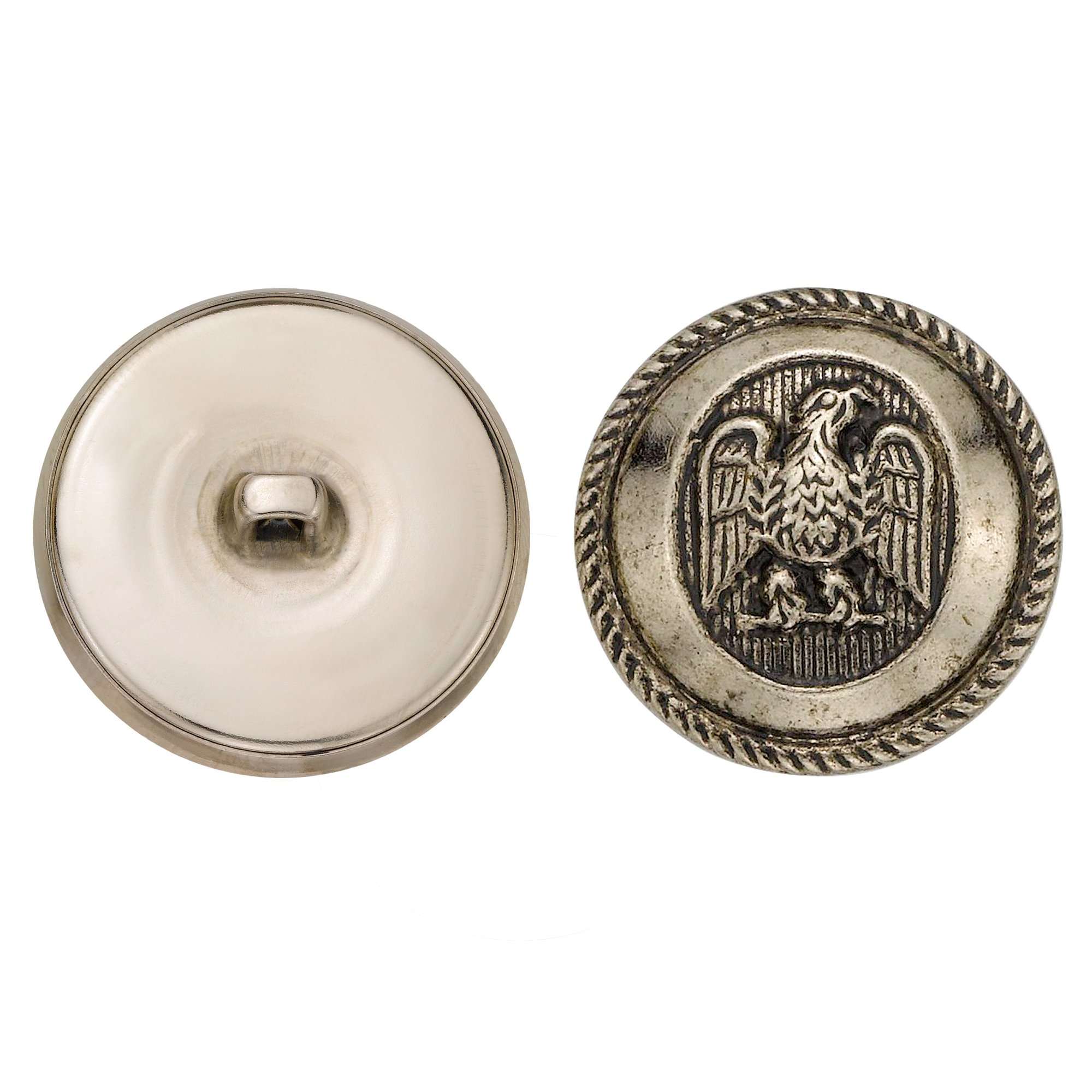 C&C Metal Products 5064 Rope Rim Usa Eagle Metal Button, Size 45 Ligne, Antique Nickel, 36-Pack
