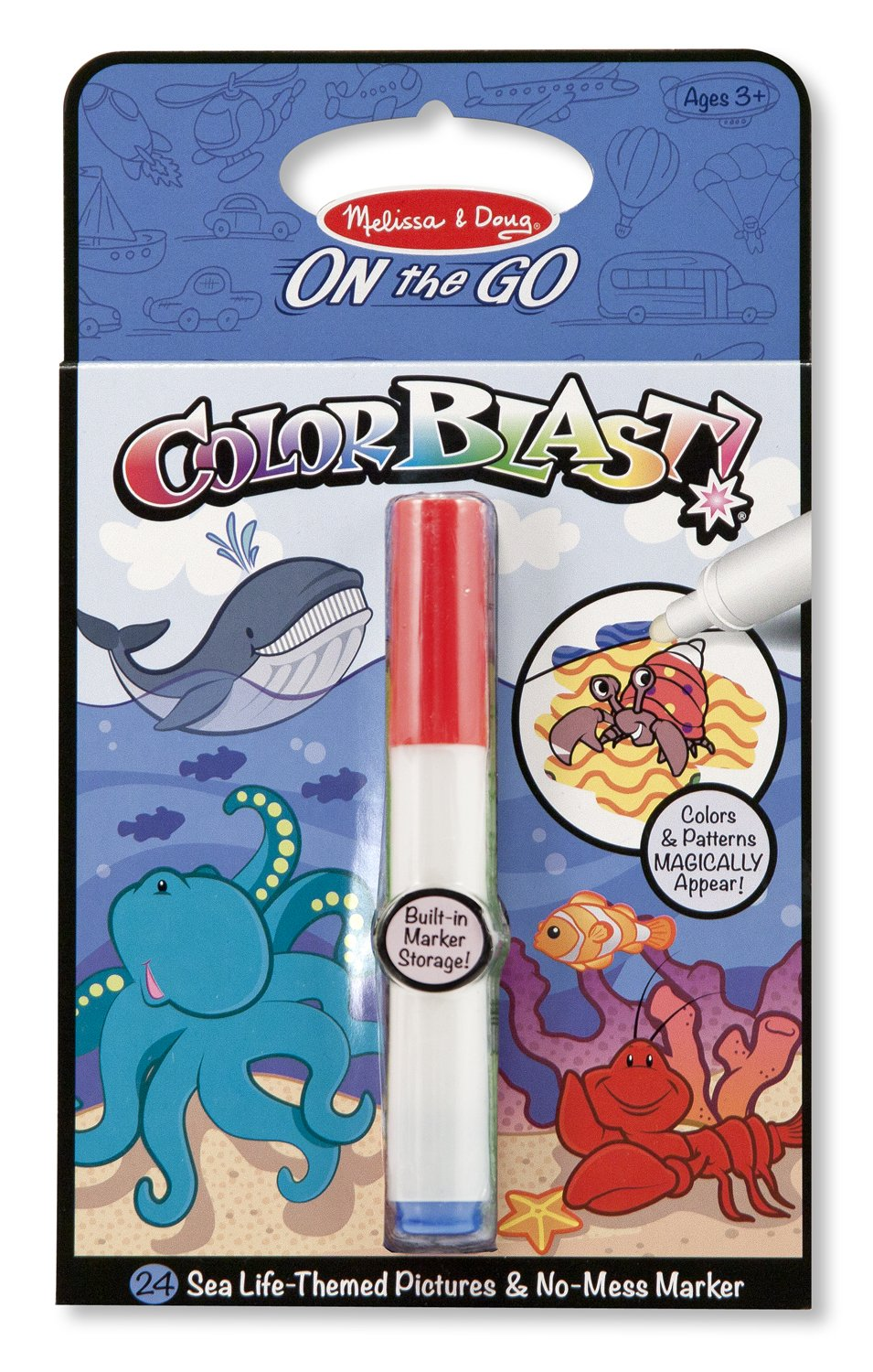 Melissa Doug On the Go ColorBlast Activity Book Sea Life 24 Pictures and No Mess Pen
