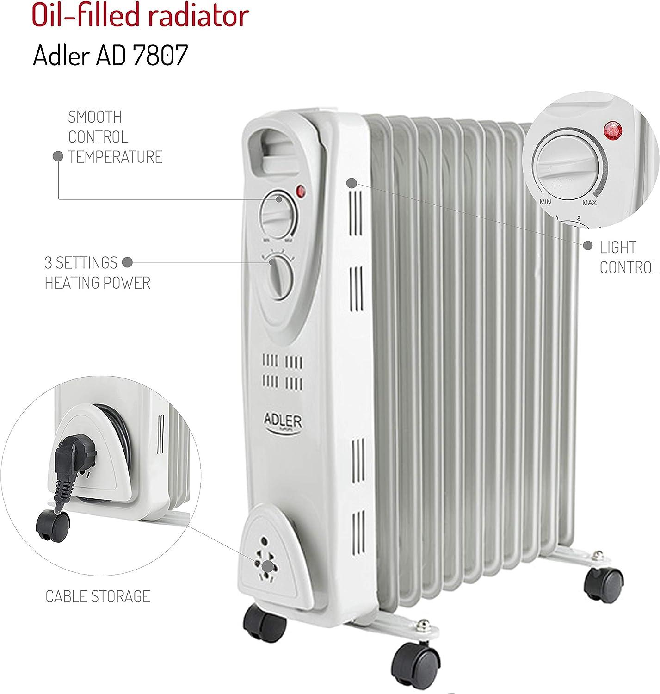 Adler AD 7808 Radiateur /à bain dhuile 9 nervures