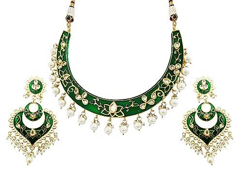bff2bdbdf77f1 Buy Mehrunnisa Traditional Meena Kundan & Pearls Hasli Necklace Set ...