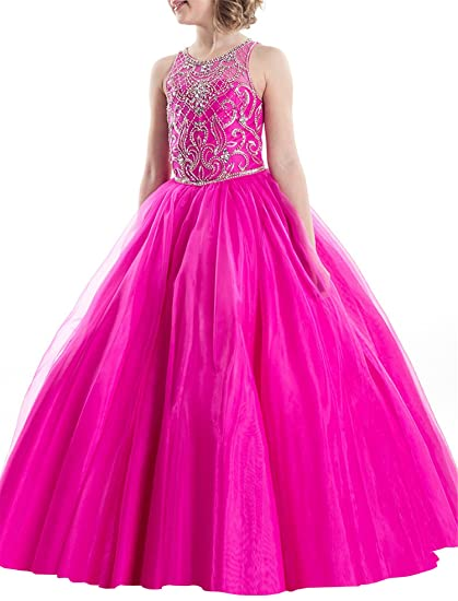 TuanYuan Princess Girls Tulle Beaded Ball Gowns Kids Wedding Party Dresses 2 US Fuchsia