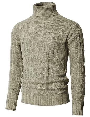 ad4f8105ba H2H Men's Basic Turtleneck Pullover Solid Sweater Beige US M/Asia L  (KMOSWL0222)