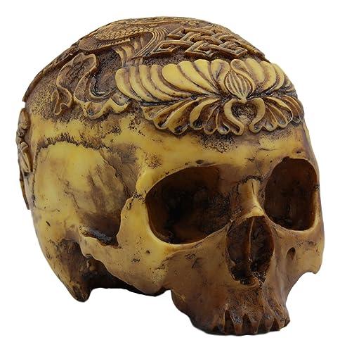 Ebros Tibetan Buddhist and Hindu Kapala Tantric Ritual Skull Statue 7.25 Long Two Golden Fish Ashtamangala Cranium Detailed Skull Figurine