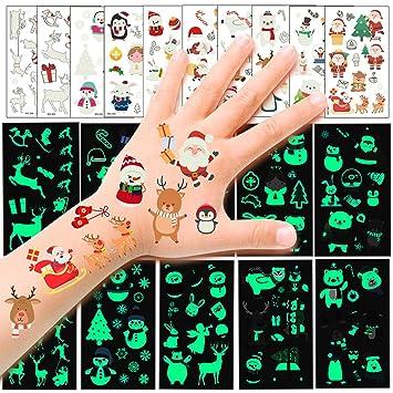 HOWAF 110pcs Navidad Tatuajes temporales para niños, Falso Luminoso Muñeco de Nieve Papá Noel Tatuaje Pegatinas para Chicos Niñas niños Infantiles ...