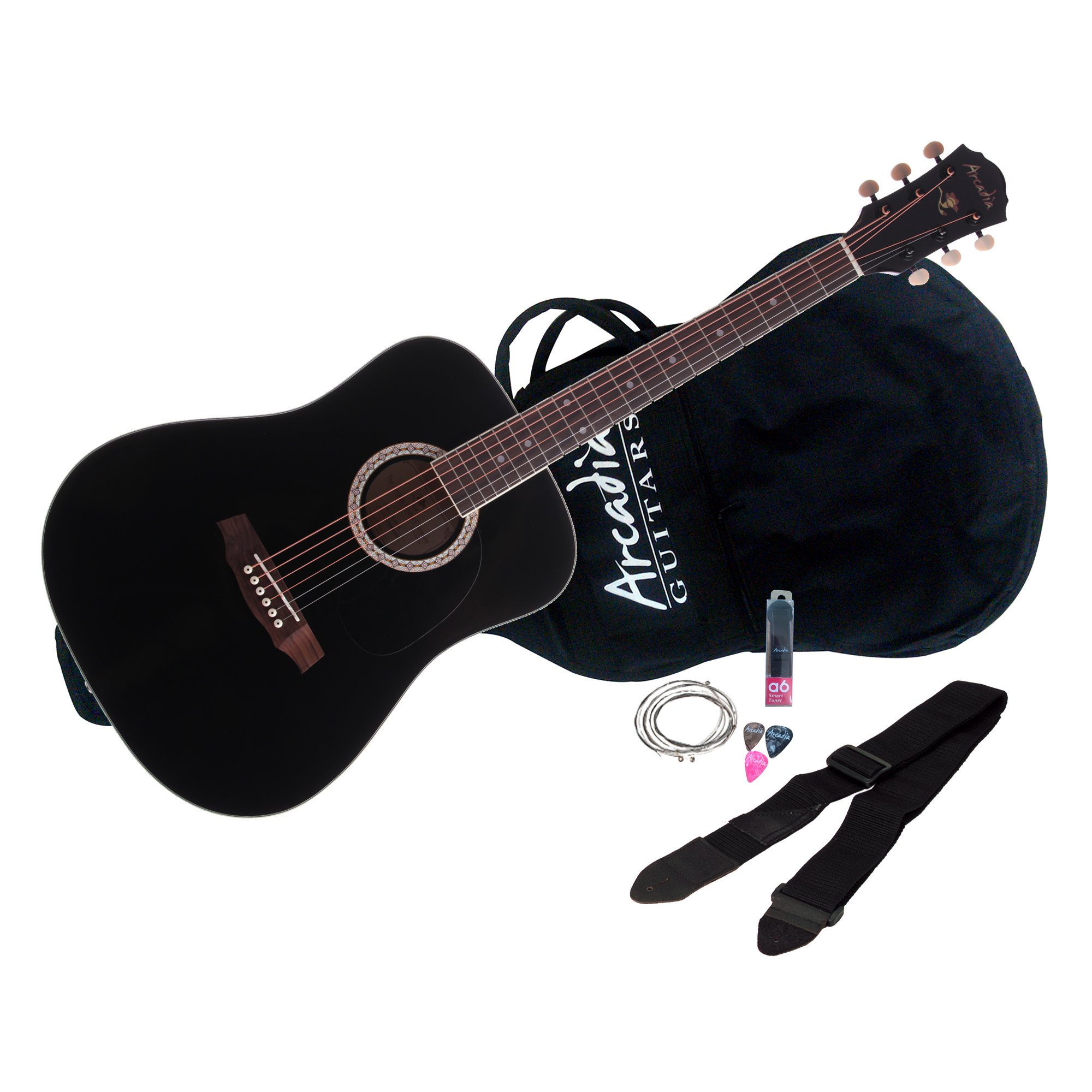 Arcadia DL36BK PAK 36-Inch Parlor Size Acoustic Guitar Pack, Spruce with Black Finish