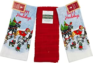 Christmas Dog Kitchen Towel Set: Happy Howliday The Dog's Way, Sleigh Dogs Bring Home The Presents, 3 Piece (Happy Howlidays)