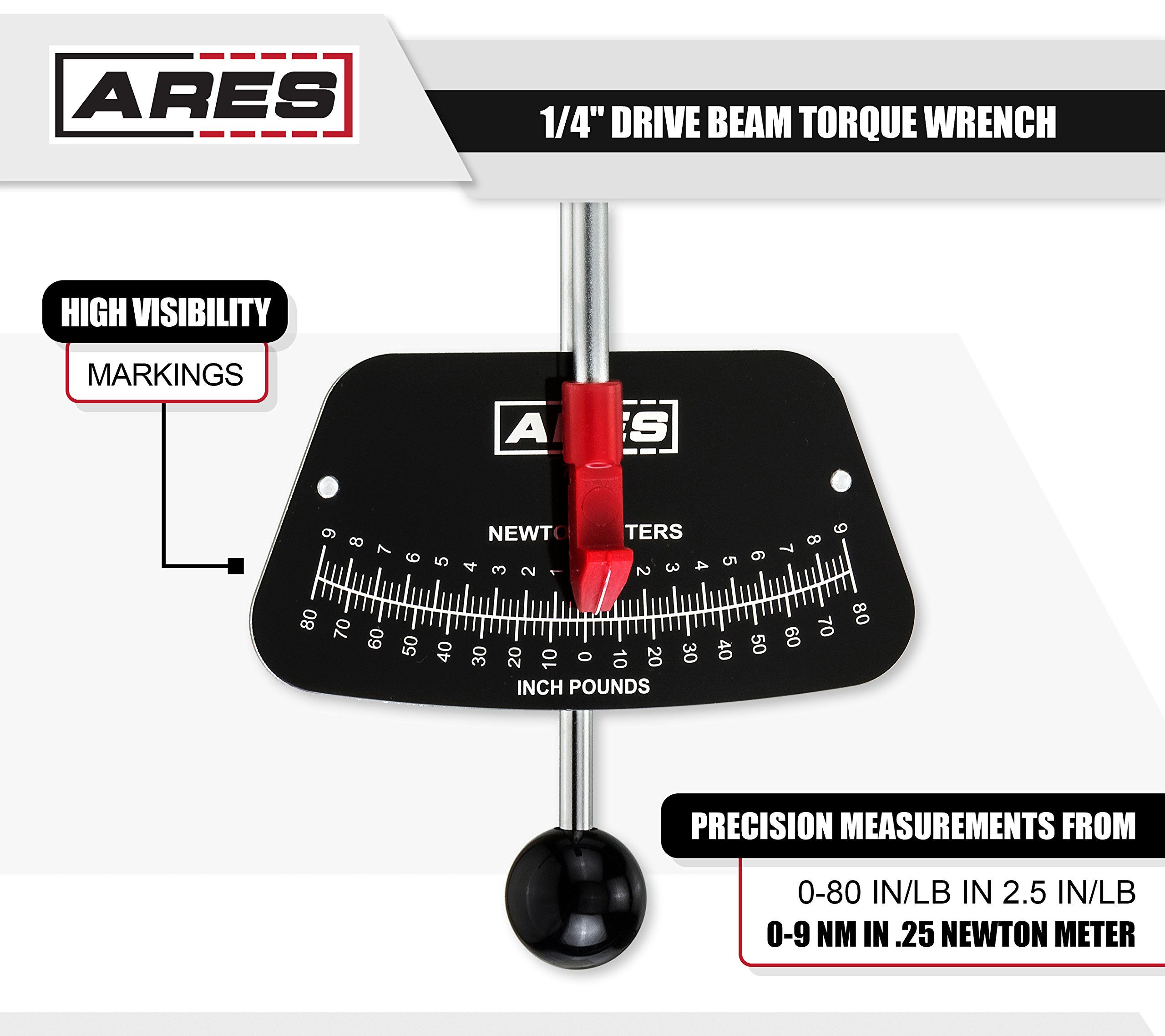 ARES 70213 | 1/4-inch Drive Beam Torque Wrench | 0-80 in/lb and 0-9 Newton Meter Torque Wrench | High Visibility Markings for Easy Readings by ARES (Image #3)