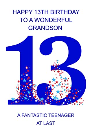 grandson 13 birthday card amazon co uk office products