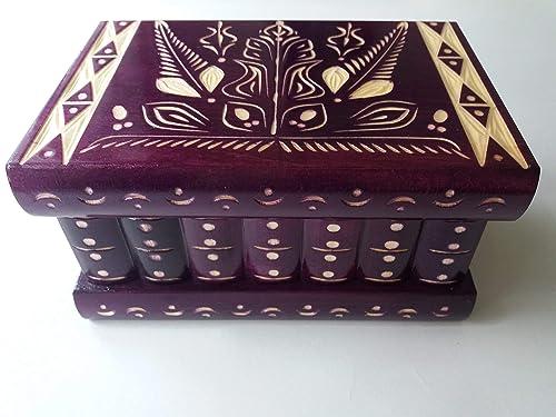 Caja puzzle nuevo grande violeta caja de joyas talladas caja ...