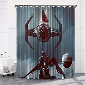 The Mandalorian Star Wars Fabric Shower Curtain Set with 12 Hooks for Boys Bathroom, 72 inches