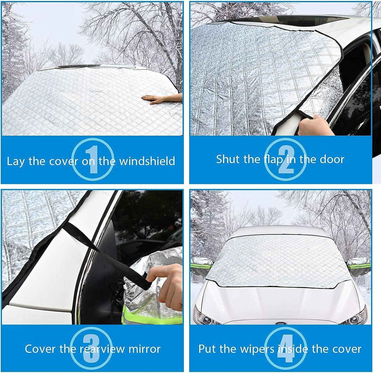Ultra-Dicke Autoabdeckung aus Aluminiumfolie f/ür Winter AmzKoi Frontscheibenabdeckung Auto Magnetisch Windschutzscheibe Abdeckung mit Reflektierenden R/ückspiegelabdeckungen