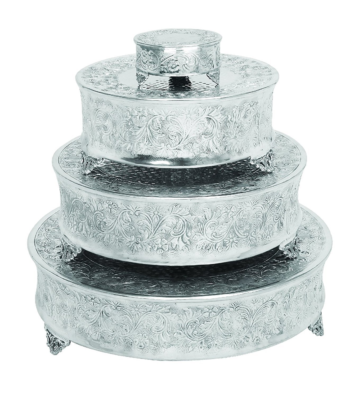 Benzara Intricately Designed Aluminum Cake Stand, Set Of 4, Silver