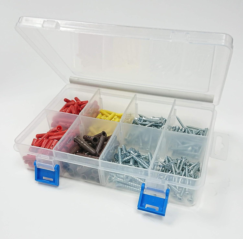 Merriway BH06644 Bulk Hardware 285 pcs Pozi Twinthread CSK tornillos y tacos de pared surtidos tono plateado