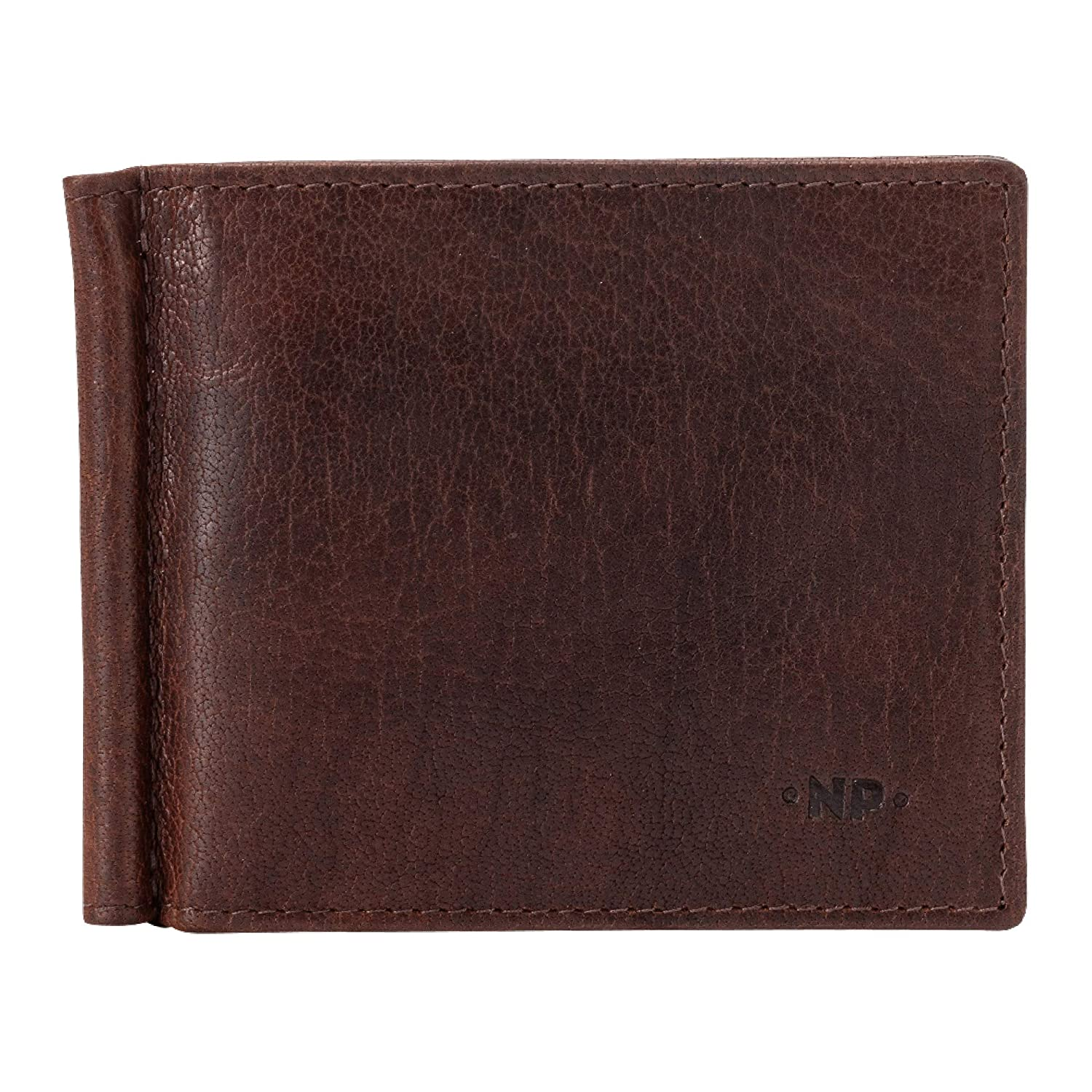 Nuvola Pelle Slim Mens Leather Money Clip Wallet Minimalist with 8 Credit Card Pockets Brown