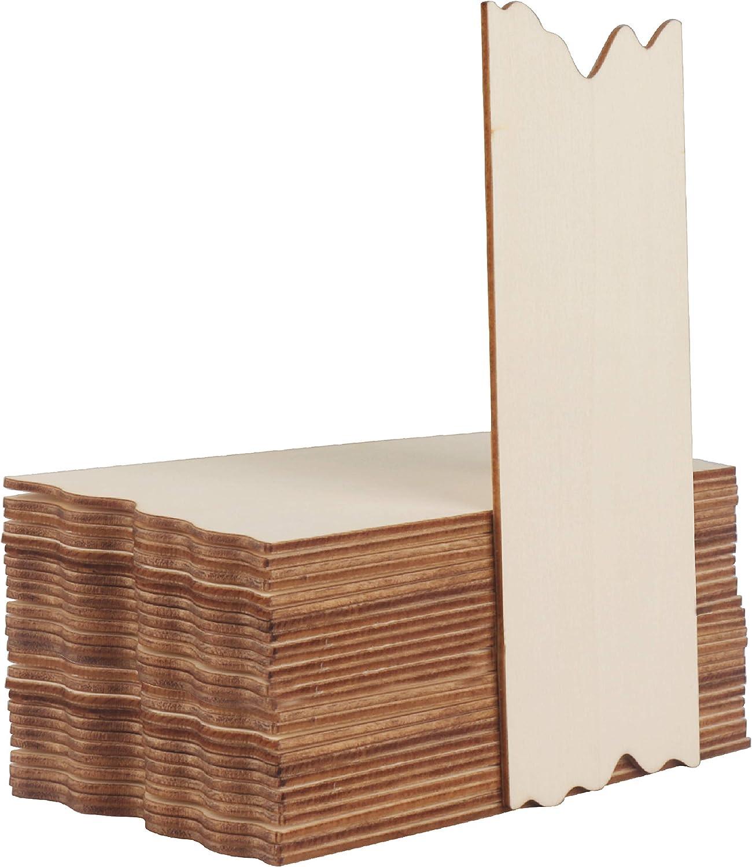 Placas de Madera sin Acabado (24 Piezas) - (17,6 x 7,5 x 0,2 cm) Etiquetas Decorativas Madera con Borde Serrado - Recortes de Madera Rectangulares para Manualidades, Decoración Boda, Número de Casa