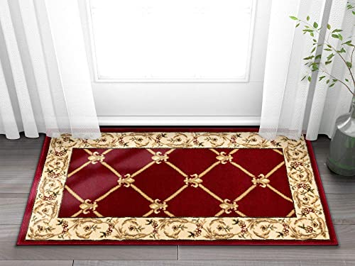 Well Woven Timeless Fleur De Lis Red Formal Area Rug 2'3″ X 3'11″