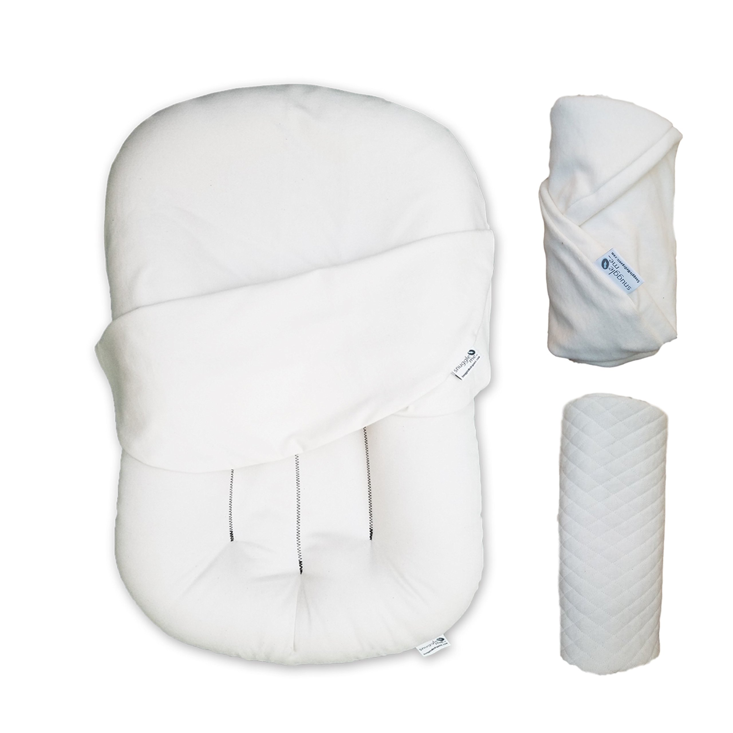 ULTIMATE BABY CARE PACKAGE Snuggle Me Organic Cosleeping Bed Infant Lounger. 4PCS (Ivory)
