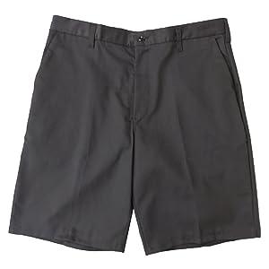 Cintas 741 Men's Plain Front Uniform Shorts, Grey, 34