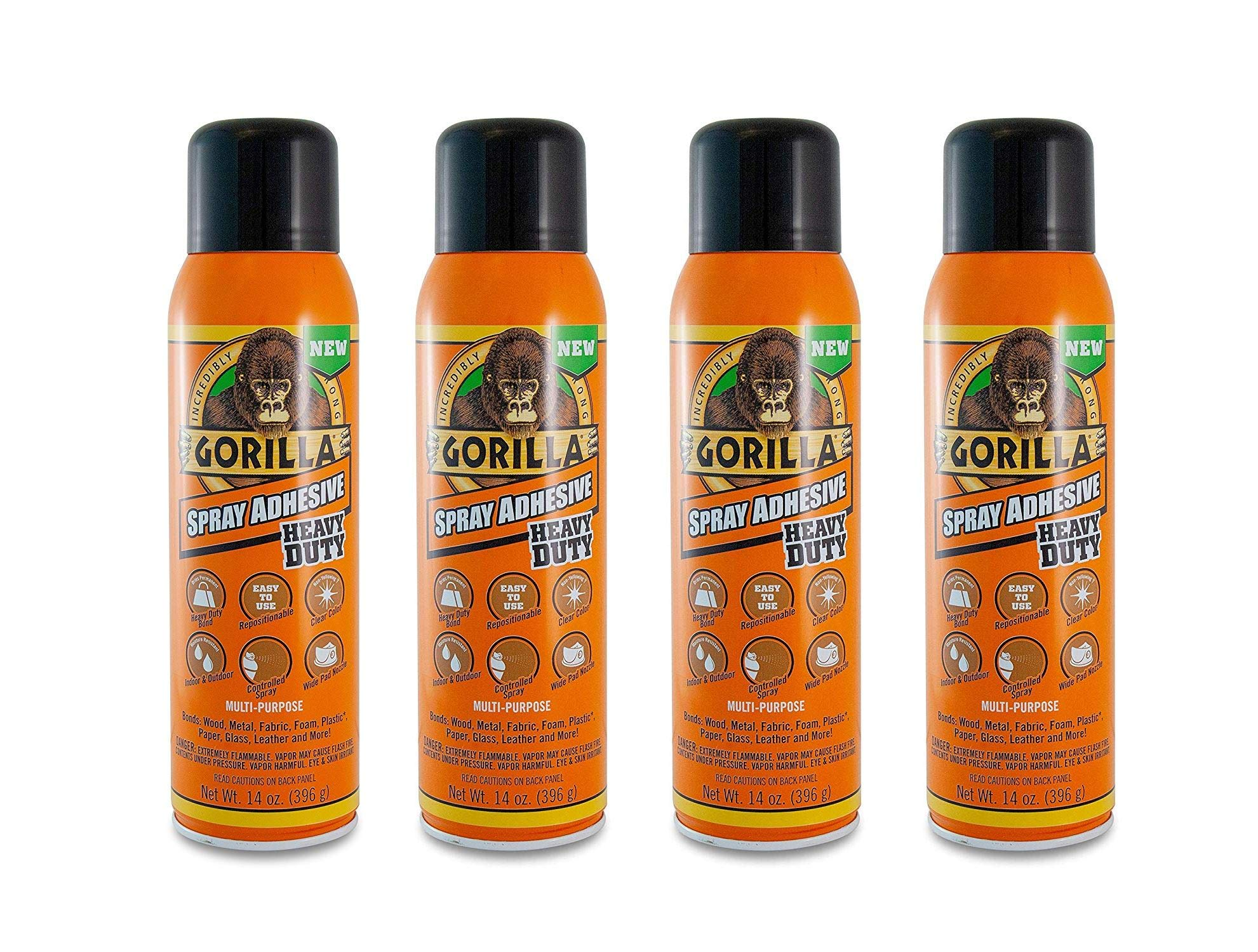 Gorilla Heavy Duty Spray Adhesive, Multipurpose and Repositionable, 14 Ounce, Clear (Clear, Fоur Paсk)