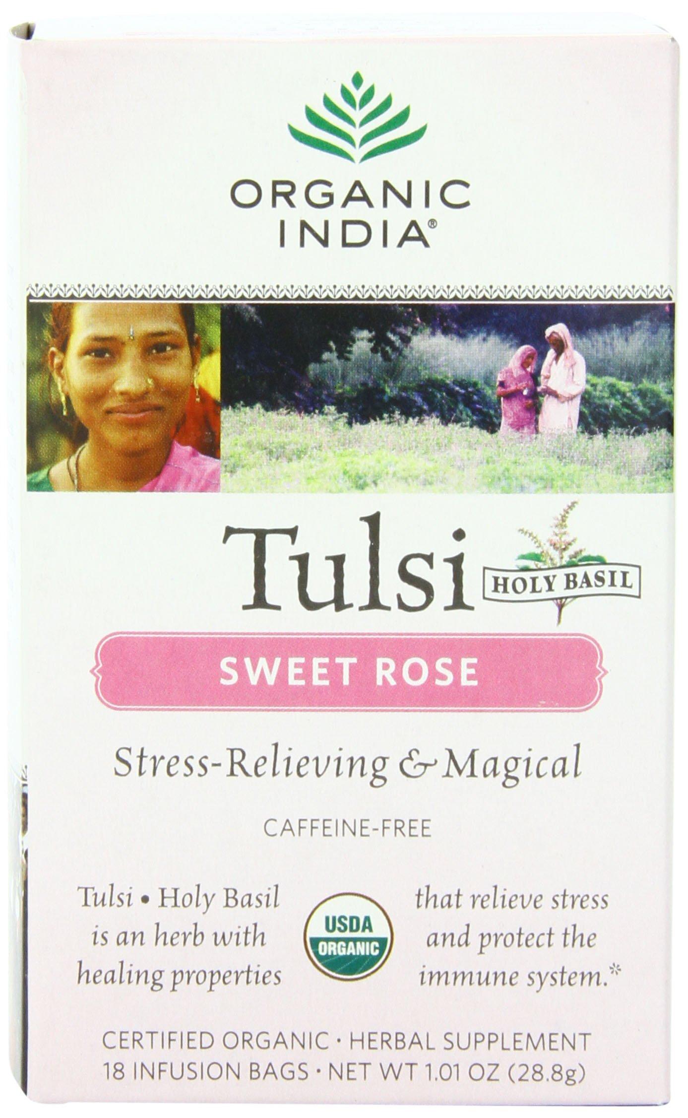 Organic India Organic Tulsi Herbal Tea, Sweet Rose, 18 Tea Bags (Pack of 6)