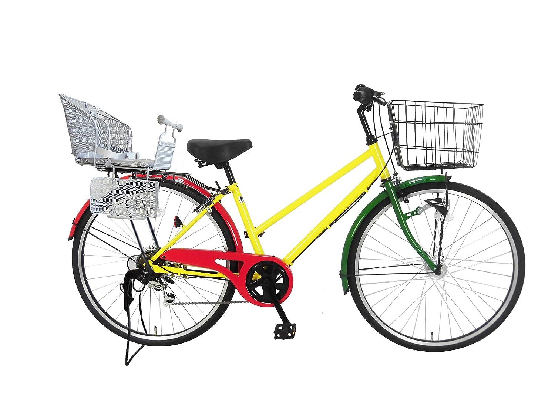 Lupinusルピナス 自転車 26インチ LP-266TA-knr-s シティサイクル シマノ製外装6段ギア オートライト 後子乗せシルバー B0797N7MCN ラスタカラー ラスタカラー