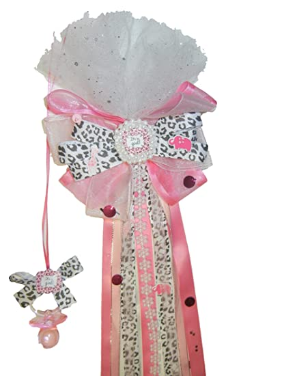 Amazon.com: Rosa Safari Baby Shower lazos corsé. (12), color ...