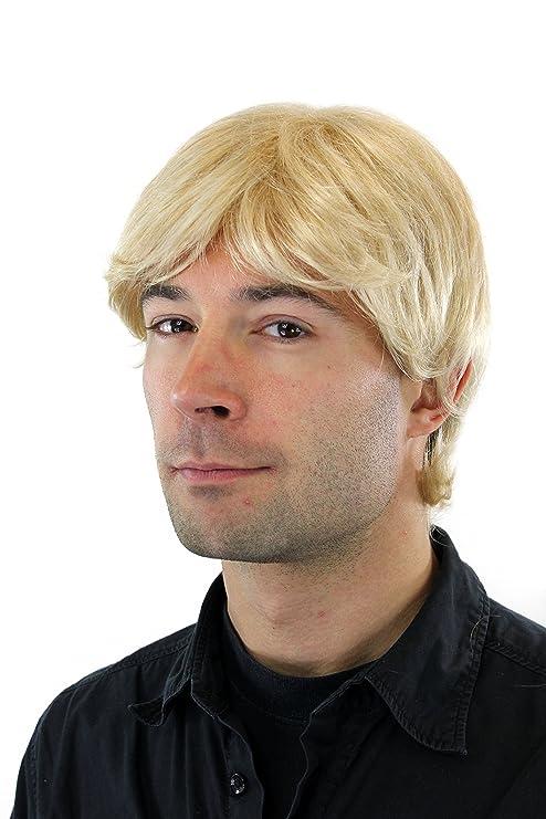 Perruque pour homme, courte avec raie, blond/